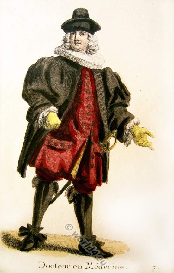 Altes Schweizer Kostüm oder Tracht. Barock Kleidung eines Arztes .