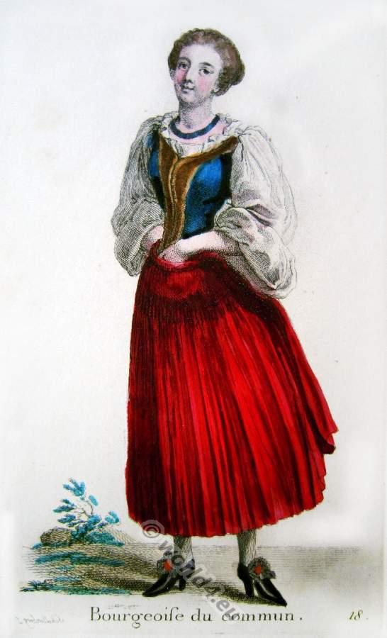 Frau in alter Schweizer Bürger Tracht. Barock Kostüm.
