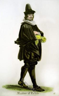 Official Swiss garb of a teacher. Switzerland Baroque costume recherche. 17th century fashion.