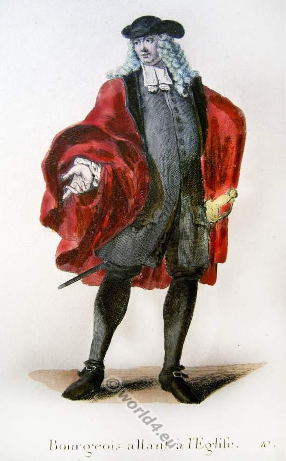 Altes Schweizer Barock Kostüm eines bürgerlichen Herren auf dem Weg zur Kirche