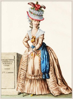 Coiffure d'un Chapeau en Corbeille. Louis XVII rococo costumes. Costume ideas.