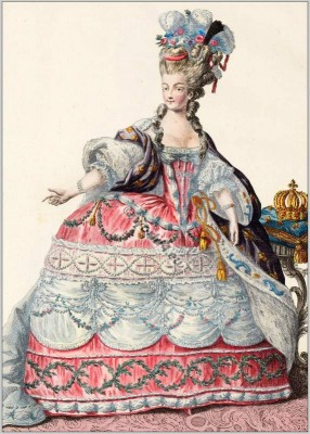 Marie Antoinette in Rococo court dress. Costume ideas. Vintage french fashion.