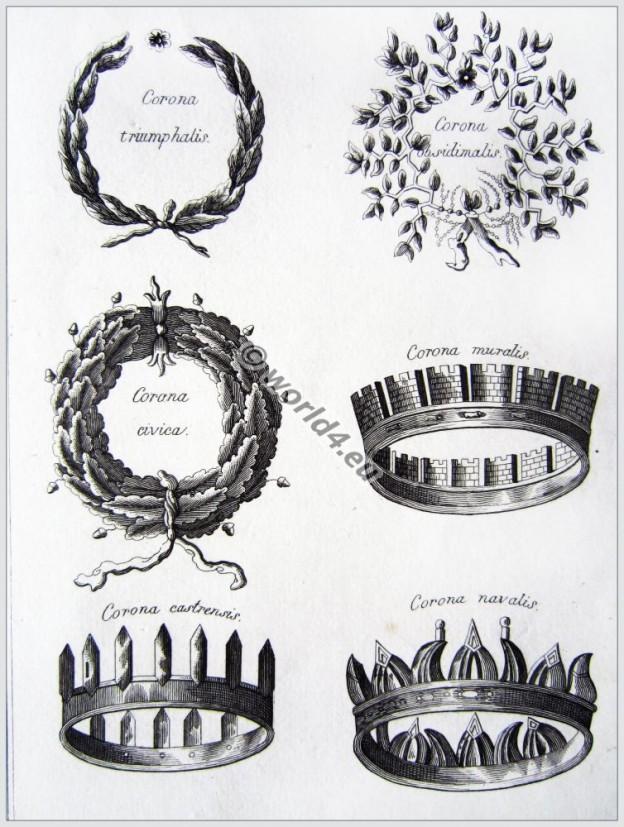Roman, crowns, wreaths, Corona, triumphalis, obsidimalis, civica, muralis, castrensis, navalis