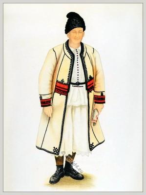 Romanian folk costume. Romania Transylvania national costumes. Traditional embroidery patterns