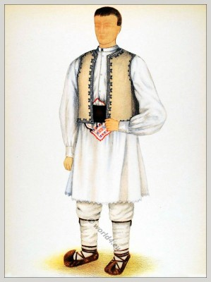 Romanian Huniedoara, folk costume. Romania Transylvania national costumes. Traditional embroidery patterns