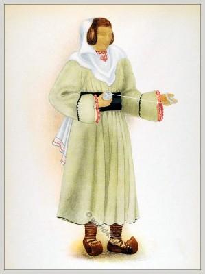 Romanian Lunca Cernii de Jos  folk costume. Romania Transylvania national costumes. Traditional embroidery patterns