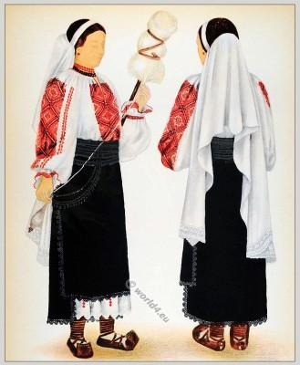 Romanian Lelese folk costume. Romania Transylvania national costumes. Traditional embroidery patterns