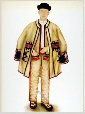Romanian Beiuș folk costume. Romania Transylvania national costumes. Traditional embroidery patterns