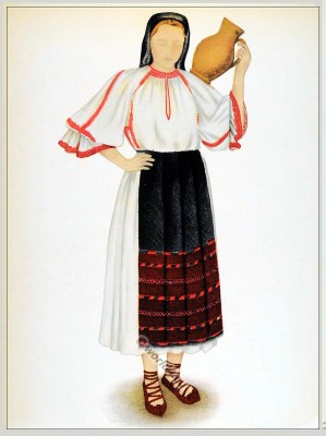Romanian Cluj folk costume. Romania Transylvania national costumes. Traditional embroidery patterns