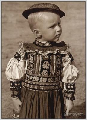 Boy in traditional costume from Dobrá Niva, Slovakia. Slovakian national costume