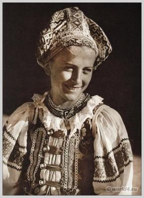 Slovakian traditional costume from Heľpa. Slovakia national costumes. Embroidery design