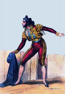 Spain national costumes.Torero costume. Manola.Bullfighting dress. corrida toros.