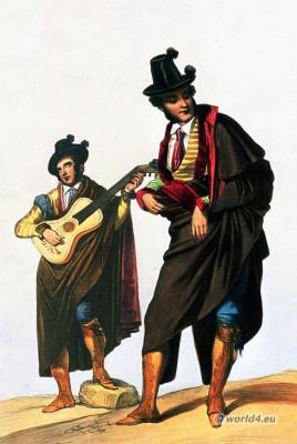 Spanish guitar player. Traditional Spain national costume. Spanish Mens fashion, folk dress.