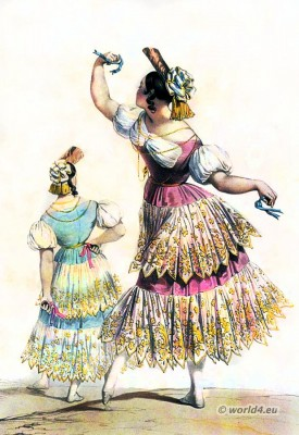 Spanish lady with castanets. Spanish bolero dance costume. Spain national costumes
