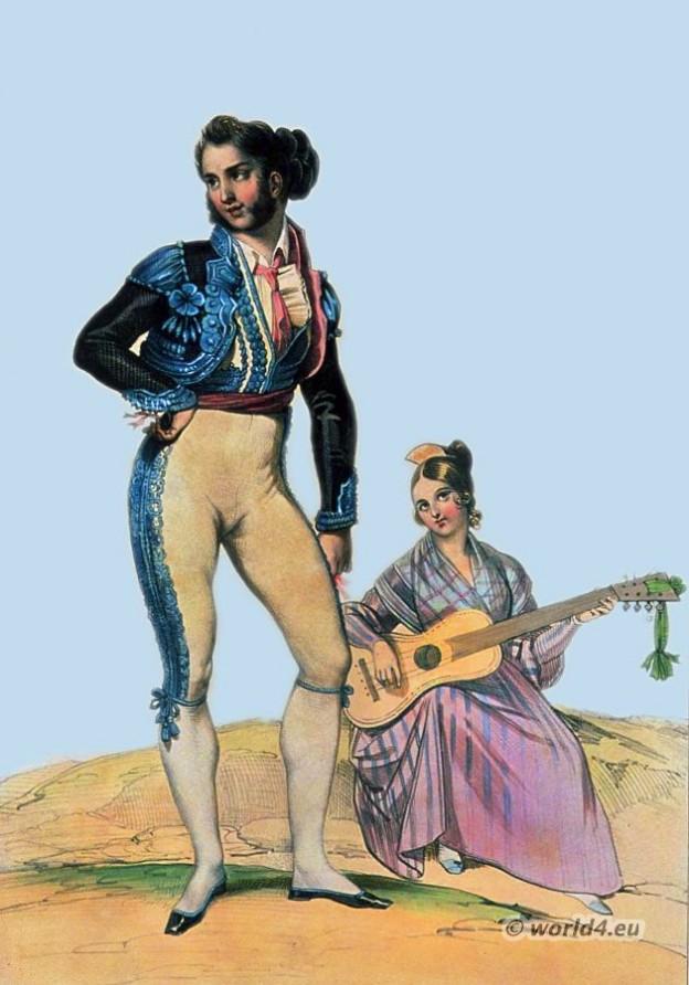 Traditional Spain national costume. Spanish Bolero Jacket. Bolero dance costumes. Spanish guitar player.
