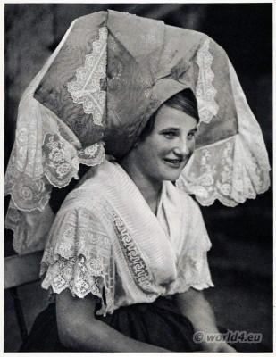 German Sorbian costume. Old lace costumes. Traditonal spreewald clothing