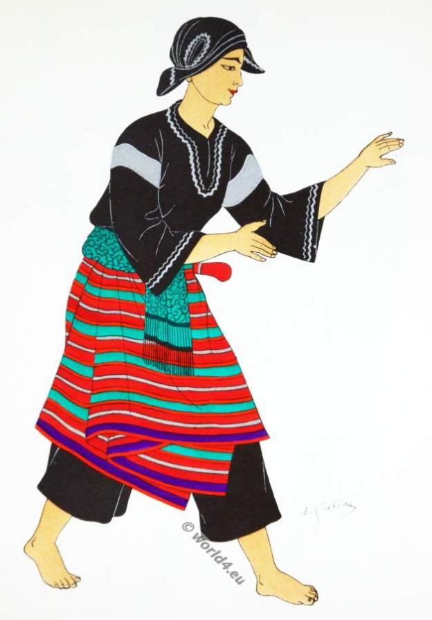 Traditional Sumatra costume. Topèng-dance, Légong, Pencak martial arts.