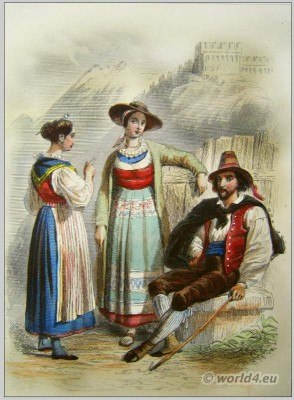Traditional Switzerland national costumes. Swiss folk dresses. Clothing from Canton Uri and Canton Ticino