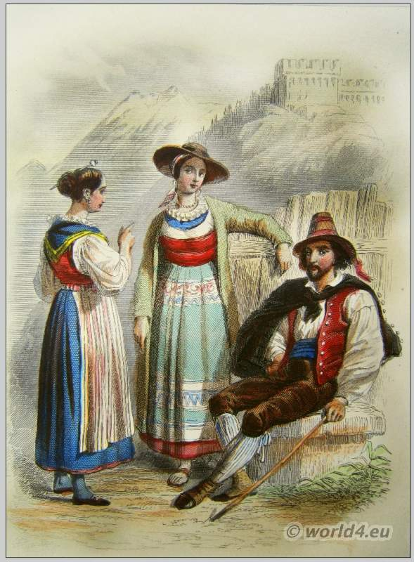 Traditional Switzerland national costumes. Swiss folk dresses. Clothing from Canton of Uri and Tessin.