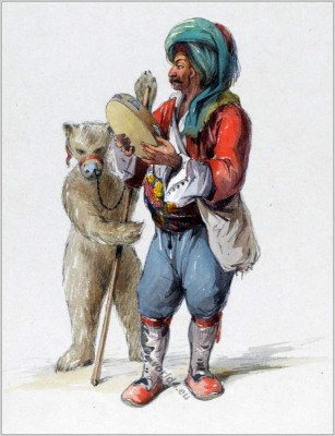 Dancing bear. Traditional Turkey showman clothing. Ottoman empire costume. Amedeo Preziosi drawing
