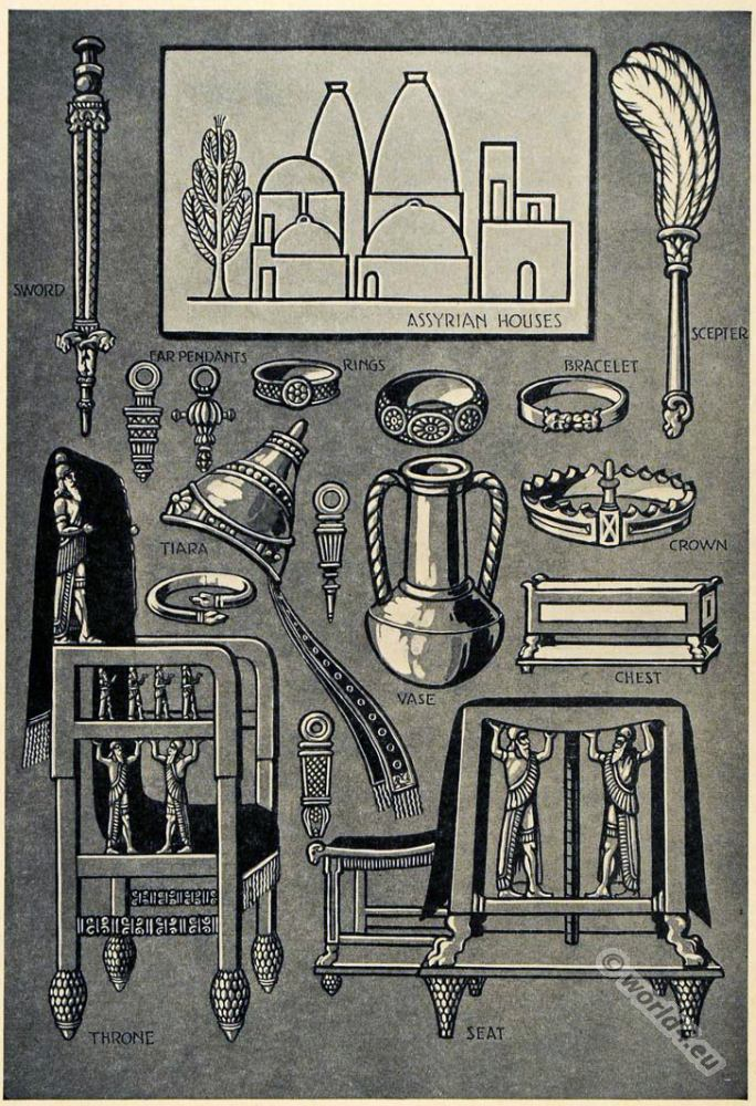 Ancient Assyrian furniture, jewelry and weapons