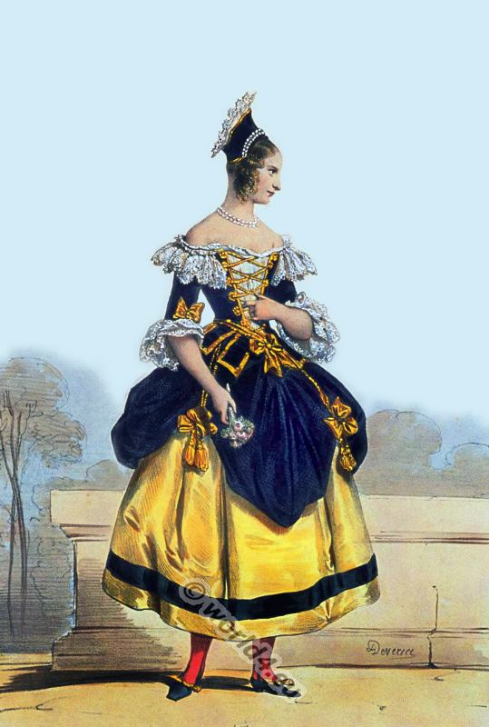 French rococo fashion. Parisian Peasant Costume. 18th century clothing