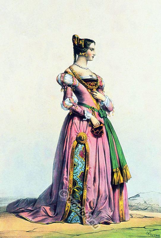 Belgian lady renaissance costume. Medieval clothing.