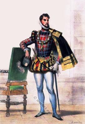 Prince of Scotland. Spanish court fashion. 16th century clothing. Tudor costume