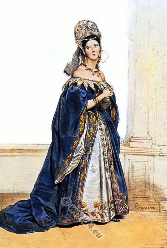 England tudor costume period. Renaissance clothing.
