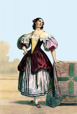 Flemish national costume. Female rococo clothing. Dutch folk dress