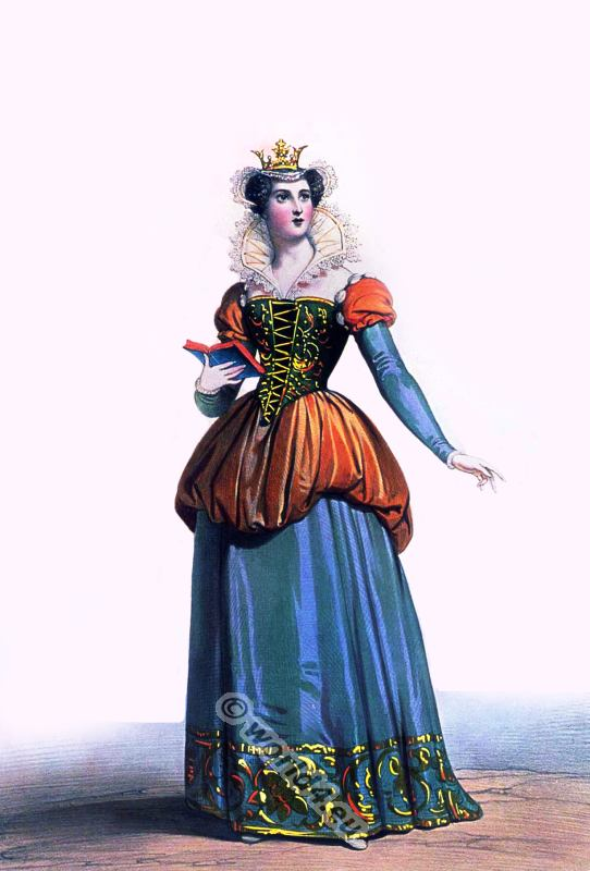 14th century costume. Blanche of Navarre Queen of France. French gothic, burgundian fashion. Medieval clothing. Womens clothes in the middle ages