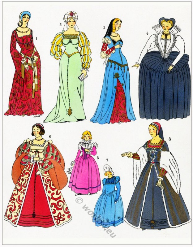 Renaissance dresses design. Robes. 16th century fashion.