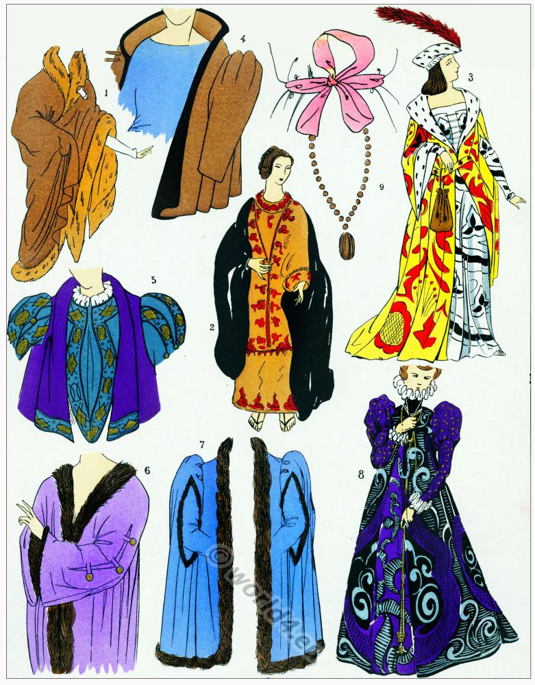 Renaissance coats, jackets design. Manteux. 16th century fashion.