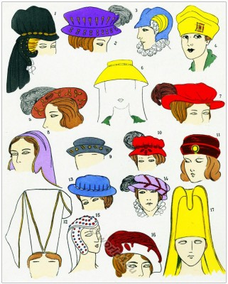 Renaissance fashion. Headdresses.16th century fashion.