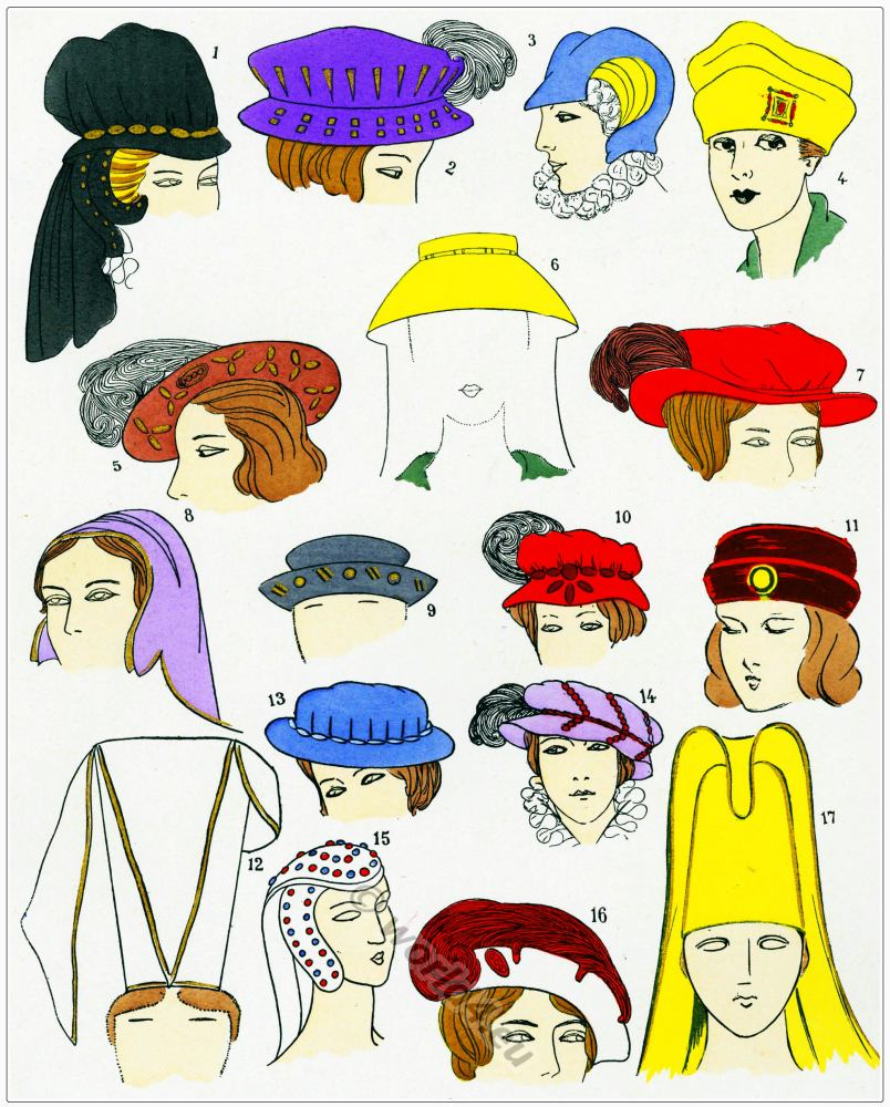 Renaissance Hats design. Chapeaux. 16th century fashion.