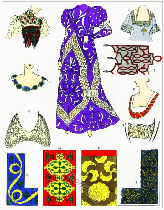 Broderies, Dentelles, modes, renaissance, costume, féminin, français,
