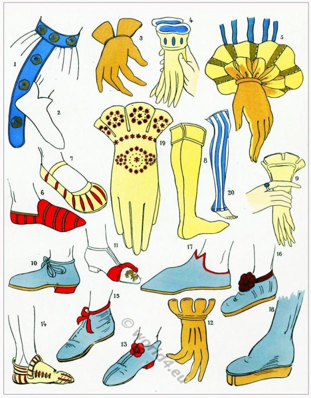 Chaussures, modes, renaissance, Costume, féminin, français,