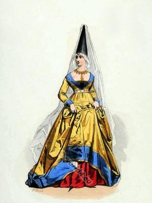 Parisian fashion. French Medieval woman clothing. Burgundian costume with Henin. 15th century fashion