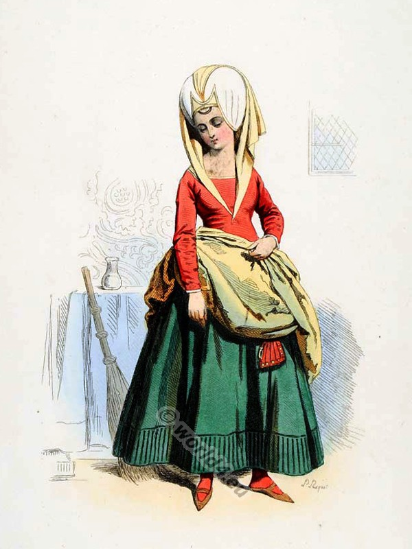 chamber maid, 15th century, middle ages, costume,