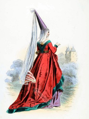fashion, history, Burgundy, Hennin, middle ages, costume