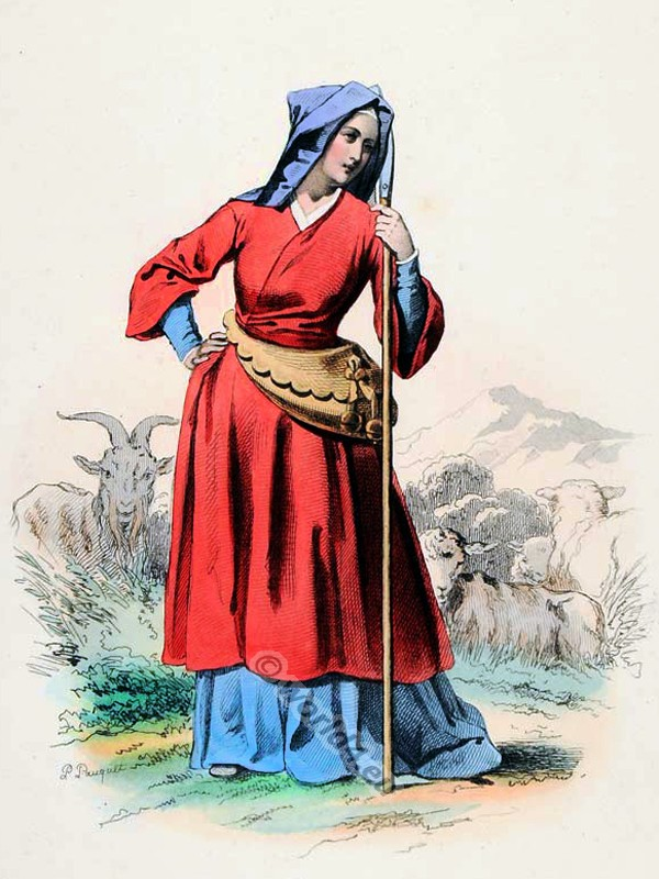 Shepherdess, France, middle ages, costume