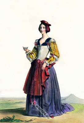 Medieval dress. Burgundian gothic costume. 15th century clothing and fashion