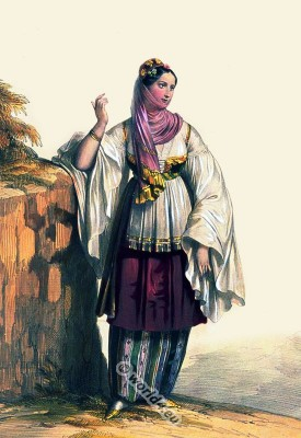 Greek woman from Santorini in national costume. Traditional Greece folk clothing