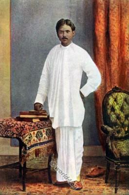 India National costume. Traditional Bengali clothing. Indian Hindu costume