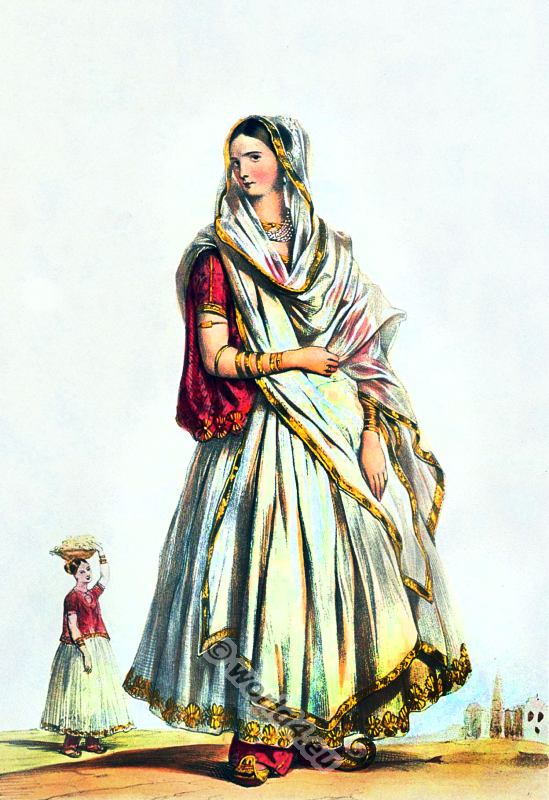 Indian lady in antique Sari 19th century clothing. India national costume. Traditional Indian ethnic dress