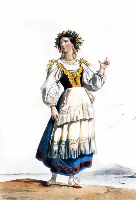 Italian woman in traditional costume. Italian National clothing. Female Folk dress.