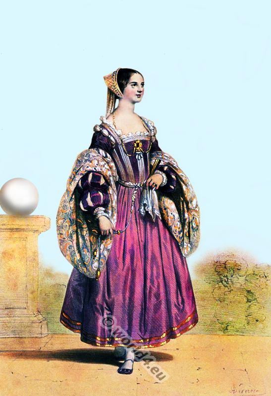 Venetian Renaissance costume. Italian medieval clothing.