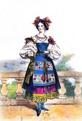 Italian Neapolitan Girl in national clothing. Traditional Neapolitan costume