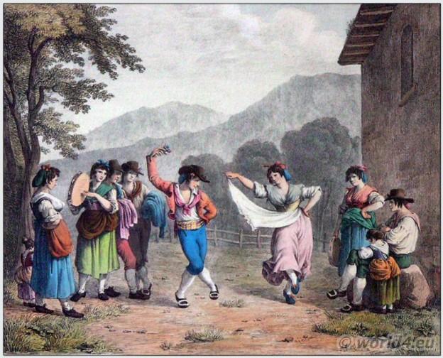 Italian Tarantella. Southern Italian folk dance. Italian national costume. Italy Folk dress