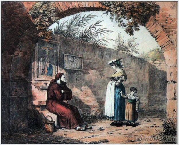Traditional women clothing of Frascati. Italian national costume. Italy Folk dress